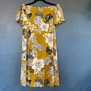 Yellow/green off the shoulder floral dress. Size L